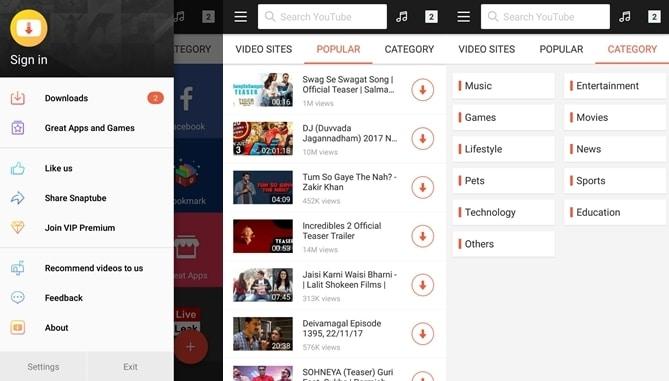 SnapTube App homepage