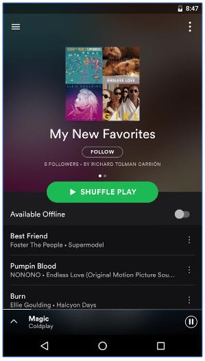 spotify music favorites